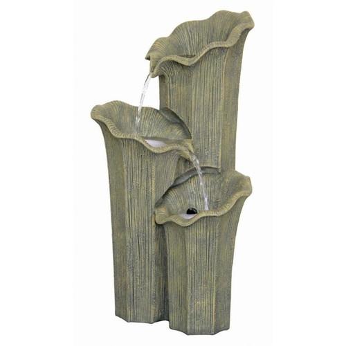 Three Lilies Cascading Sculptural Garden Fountain