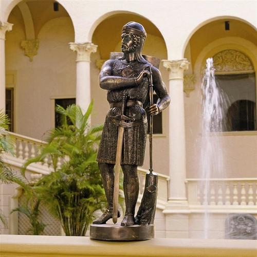 Replica Medieval Warrior Soldier Lost Wax Bronze Statue in the Garden Fourier