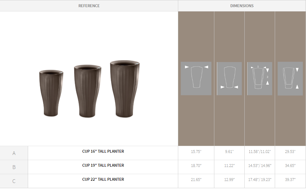 Cup Tall Planter Specification Chart