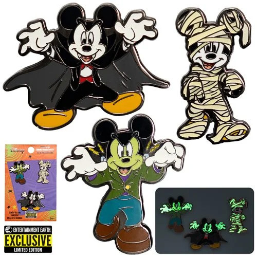 Mickey Mouse Halloween Mickeys Enamel Pin 3-Pack - Entertainment Earth Exclusive