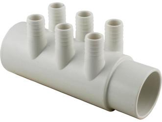"6540-788 Sundance Spas Water Manifold: 6 Port, 0.75"" Barb x 2"" Slip M/F"