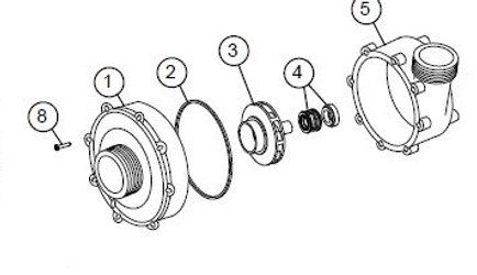 Wet End Assembly for LX 56 Frame Pump [6500-604, 6500-605, 6500-612, 6500-281, 6500-606, 6500-601 (8)]