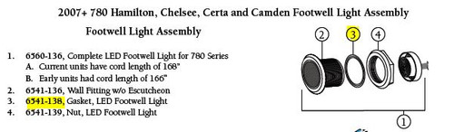 6541-138, Gasket, LED Footwell Light **DISCONTINUED**