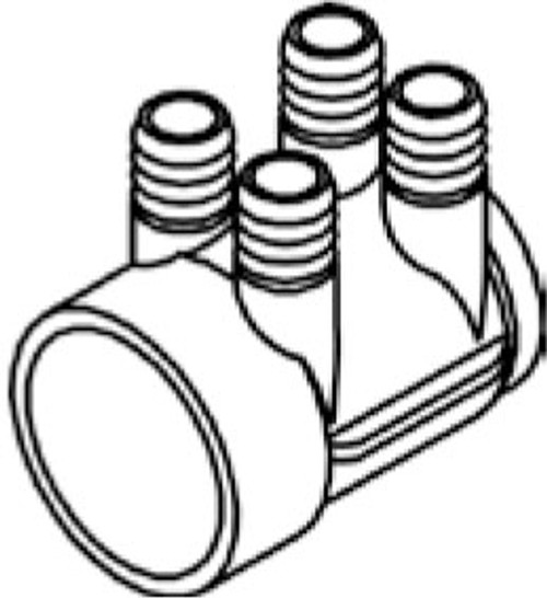 "4-Port 0.75"" Barb x 2"" Slip x Blind End Water Manifold (6540-315)"