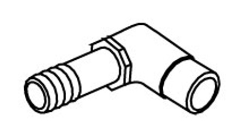 "PVC Elbow 90 Degrees 0.5"" Spigot x 0.75"" Barb (long neck) (6540-085)"