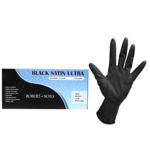 Robert de Soto Black Satin Ultra Reusable Gloves Medium 10pc