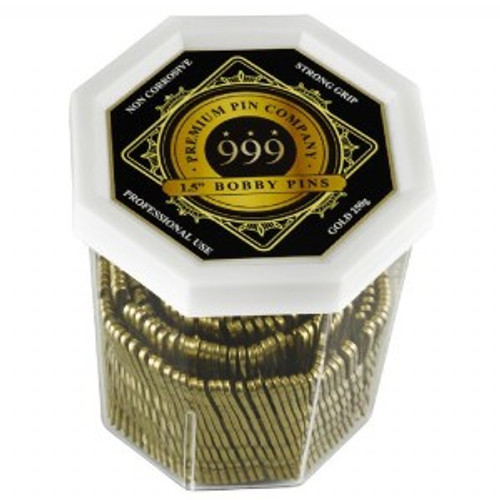 """999 Premium Pin Company Bobby Pins 1.5"""" Gold 250g"""