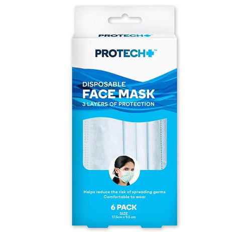 Protech + Disposable Face Mask 6pc