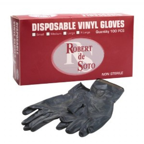 Robert de Soto Vinyl  Powder Free Gloves Black 100pc