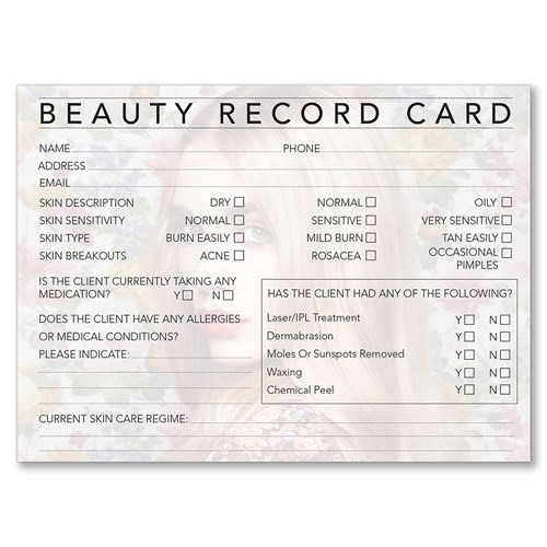 Beauty Therapy Record Cards 100pc