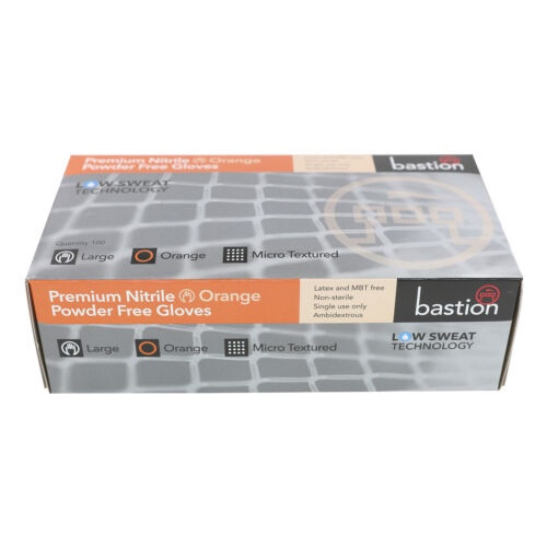 Bastion Nitrile Orange Powder Free Gloves 100pc