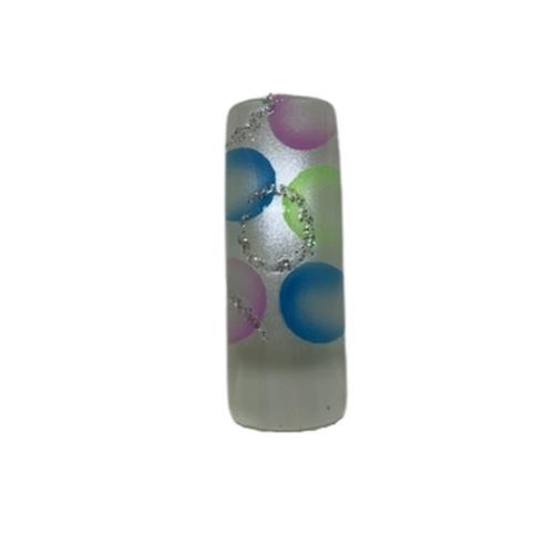 Pre Designed Silver Base Color Dots with Glitter Tips 70pc