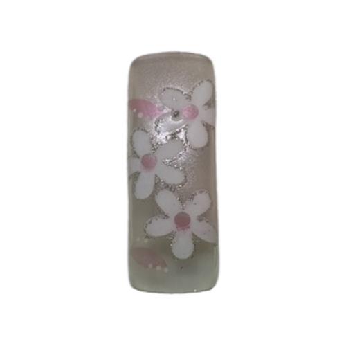 Pre Designed Sheer Pink with Floral Design Tips 70pc