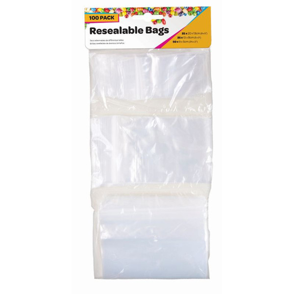 Bags Resealable Mixed Sizes 100pc