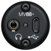 SHURE MV88+ back of microphone showing usb and headphone ouputs
