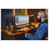 Person using MACKIE Studio Bundle: CR3-X monitors, Big Knob Studio monitor controller/interface, EM89D dynamic mic, EM91C condenser mic and MC-100 headphones.