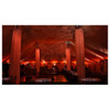 event room with  EVE F-50Z LED Fresnel fixtures surrounding wall/ceiling in red lights