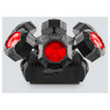 CHAUVET Helicopter Q6 multi-effect light with adjustable RGBW beams, round SMD strobe and red/green pattern laser on a rotating base front view with red lights shining upwards