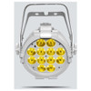 CHAUVET SlimPAR Pro W USB LED washlight featuring cool white, warm white, and amber LEDs (White Housing) direct front view with warm white lights