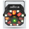 CHAUVET Swarm 5 FX 3-in-1 LED effect light with red and green lasers, white strobe effects and RGBAW rotating derby effects direct front view with all effects illuminated