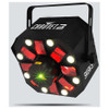 CHAUVET Swarm 5 FX 3-in-1 LED effect light with red and green lasers, white strobe effects and RGBAW rotating derby effects front/right view with all effects illuminated