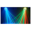 2 Swarm 5 FX 3-in-1 LED effect lights shining from ceiling to floor with blue green and red lights shining