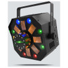 CHAUVET Swarm Wash FX 4-in-1 LED light that combines an RGBAW rotating derby, RGB+UV wash, red/green laser, and a ring of white SMD strobes front/right view with all effects illuminated