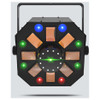 CHAUVET Swarm Wash FX 4-in-1 LED light that combines an RGBAW rotating derby, RGB+UV wash, red/green laser, and a ring of white SMD strobes direct front view with all effects illuminated green lights on left, right, and center, blue on top and red on bottom