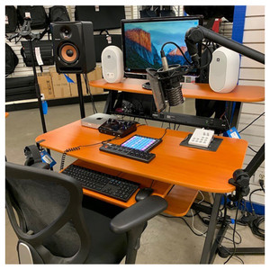 YORKVILLE SD2 Medium Studio Desk / Workstation - Woodgrain finish angled view with gear