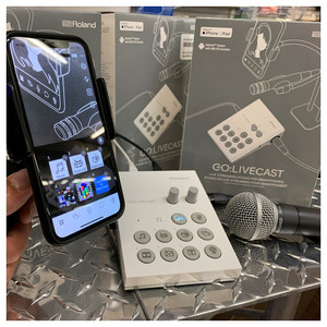 Roland GO:LIVECAST Livestreaming Studio for Smartphones with phone connected and displaying software