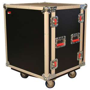 12-Space Shockmounted Flight Case with Casters angled view