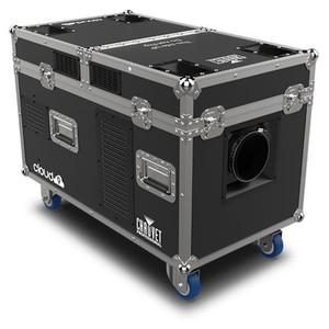 CHAUVET PRO CLOUD9 Low-Lying Fogger Creates Thick, Cloud-like Effects with High-Impact Output front/right view of fogger case on wheels closed lid