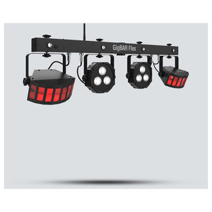 CHAUVET Gig Bar Flex 3-in-1 Pack-n-Go lighting system with a pair of LED Derbys, LED Quad-color pars (RGB + UV) and strobes front/left view with 2 rectangle red lights and 2 square white lights all on 1 bar