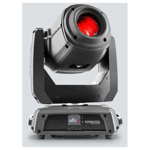 CHAUVET Intimidator Spot 375Z IRC 150 W LED moving head spot front/left view with red light shining upwards and logo on front of base