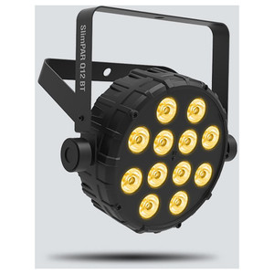 CHAUVET SlimPAR Q12BT compact wash light with built-in Bluetooth front/left view with amber lights