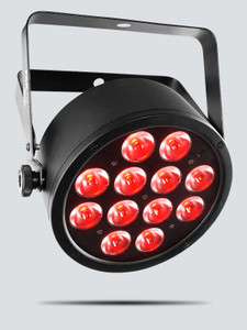 CHAUVET SlimPAR T12 USB tri-color (RBG) LED wash light with built-in D-FI USB compatibility front/left view with red lights