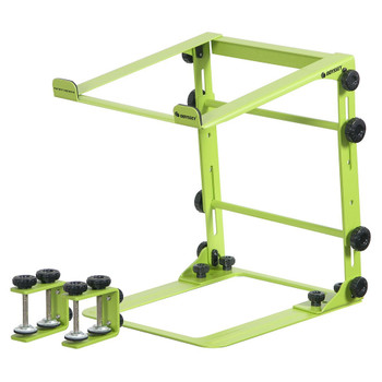 DESIGNER DJ™ SERIES LIME L STAND MOBILE FOLDING LAPTOP/GEAR STAND WITH TABLE/CASE CLAMPS - LSTANDMLIM overview of stand with clamps