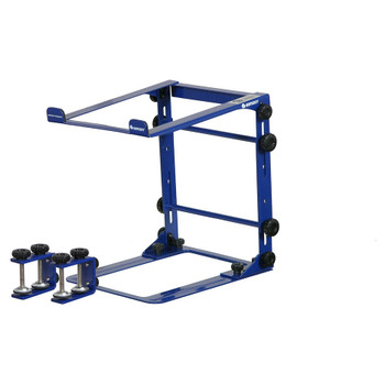 DESIGNER DJ™ SERIES NAVY L STAND MOBILE FOLDING LAPTOP/GEAR STAND WITH TABLE/CASE CLAMPS - LSTANDMNVY overview of stand with clamps
