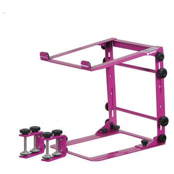 DESIGNER DJ™ SERIES PINK L STAND MOBILE FOLDING LAPTOP/GEAR STAND WITH TABLE/CASE CLAMPS - LSTANDMPNK overview of stand with clamps