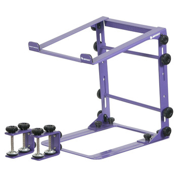 DESIGNER DJ™ SERIES PURPLE L STAND MOBILE FOLDING LAPTOP/GEAR STAND WITH TABLE/CASE CLAMPS - LSTANDMPUR overview of stand and clamps