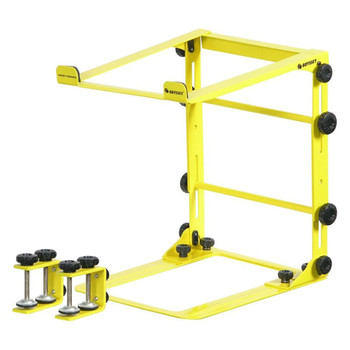 DESIGNER DJ™ SERIES YELLOW L STAND MOBILE FOLDING LAPTOP/GEAR STAND WITH TABLE/CASE CLAMPS - LSTANDMYEL overview of stand with clamps