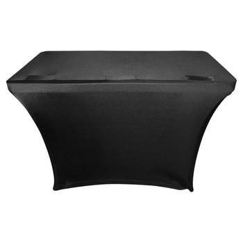 Black 4′ Banquet Table Scrim Cover SPATBL4BLK front view