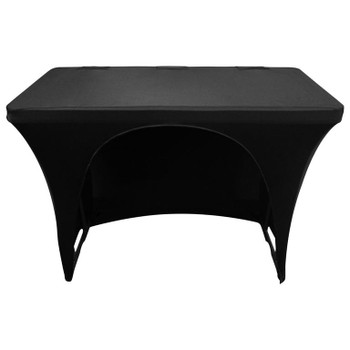 Black 4′ Banquet Table Scrim Cover SPATBL4BLK back view
