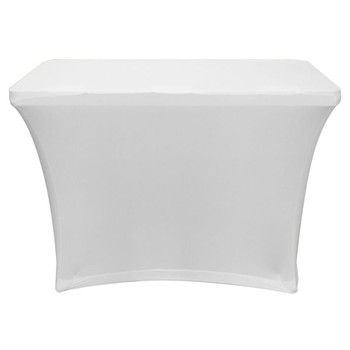 White 4′ Banquet Table Scrim Cover SPATBL4WHT front view