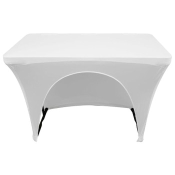 White 4′ Banquet Table Scrim Cover SPATBL4WHT back view