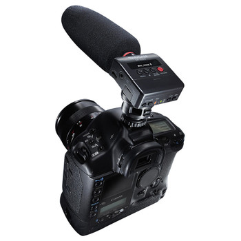 DR-10SG -Camera-mountable audio recorder with shotgun microphone on camera