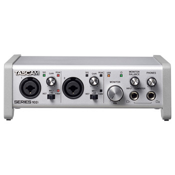 TASCAM SERIES 102i 10 IN/2 OUT AUDIO/MIDI INTERFACE front view EMI Audio