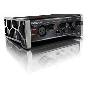 TASCAM US-1x2 2X2 CHANNEL USB AUDIO INTERFACE angled view EMI Audio