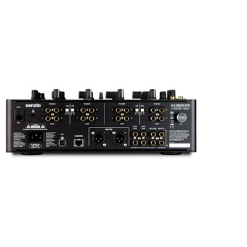 AH-XONE:43C Rear view with 4x RCA inputs, USB and cat5 port, XLR master out and RCA booth and record outputs