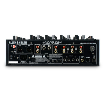 AH-XONE:DB4 Rear of unit with 4x RCA inputs, RCA XLR and TRS outputs, USB port and cat5 link port